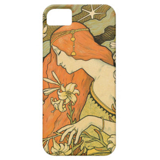 French Nouveau Pinup Girl in Field of Honeysuckles iPhone 5 Case