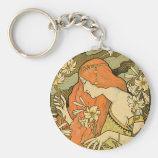 French Nouveau Pinup Girl in Field of Honeysuckles Keychain