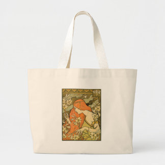 French Nouveau Pinup Girl in Field of Honeysuckles Large Tote Bag
