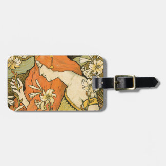 French Nouveau Pinup Girl in Field of Honeysuckles Luggage Tag