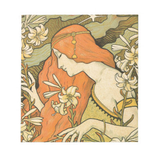 French Nouveau Pinup Girl in Field of Honeysuckles Notepad