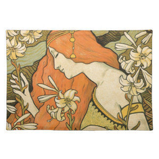 French Nouveau Pinup Girl in Field of Honeysuckles Placemat