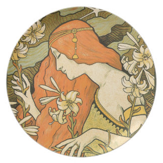 French Nouveau Pinup Girl in Field of Honeysuckles Plate