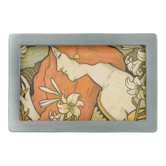 French Nouveau Pinup Girl in Field of Honeysuckles Rectangular Belt Buckle