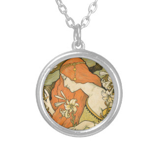 French Nouveau Pinup Girl in Field of Honeysuckles Silver Plated Necklace
