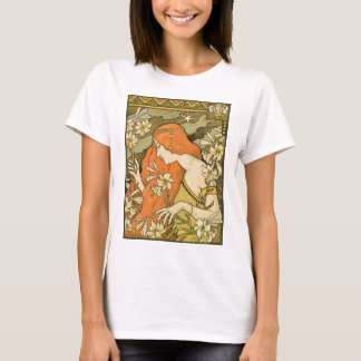 French Nouveau Pinup Girl in Field of Honeysuckles T-Shirt