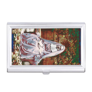 French Nun in the Garden of Contemplation Business Card Holders