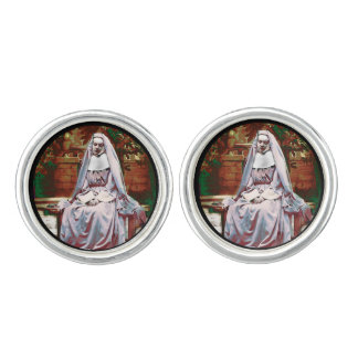 French Nun in the Garden of Contemplation Cuff Links