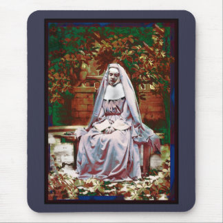 French Nun in the Garden of Contemplation Mouse Pad
