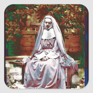 French Nun in the Garden of Contemplation Square Sticker