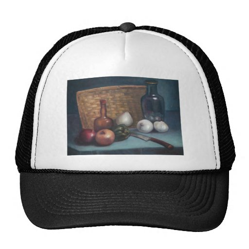 French Onion Basket and Vase Still Life Mesh Hat