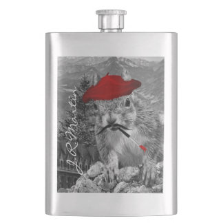 French Painter in Red Beret Squirrel Hip Flask