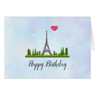 French Paris with Eiffel Tower Birthday Card