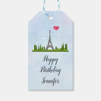 French Paris with Eiffel Tower Birthday Gift Tags