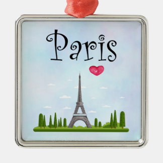 French Paris with Eiffel Tower Metal Ornament