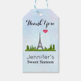 French Paris with Eiffel Tower Sweet Sixteen Gift Tags