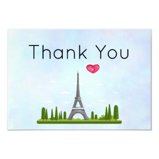French Paris with Eiffel Tower Thank You Card