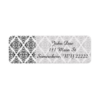 French Pattern in Black & White Return Address Label