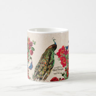 French Peacock Bird Roses Flowers Cacao Mug