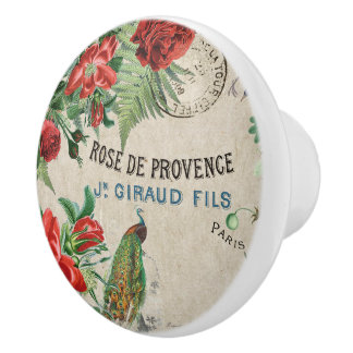 French Peacock Roses Flower Floral Paris Knob Ceramic Knob