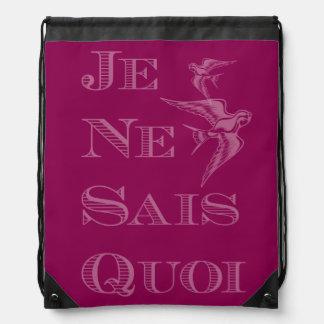 French phrase 'je ne sais quoi' certain something drawstring bags