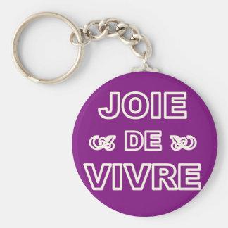 French phrase 'joie de vivre' joy of life living keychain