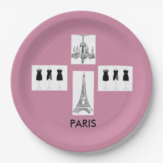 French Pink Paris Theme Party Paper Plates 9 Inch Paper Plate