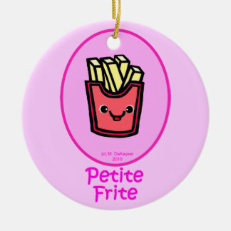French - Pink Small Fry - French Fries Round Ceramic Ornament