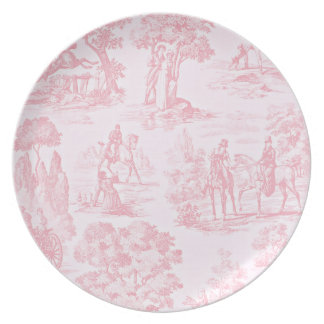 French Pink Toile de Juoy Pattern Vintage Plate