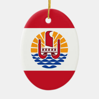 French Polynesia Flag, Drapeau Polynésie Française Ceramic Ornament