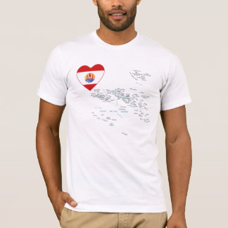 French Polynesia Flag Heart and Map T-Shirt