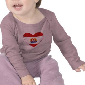French Polynesia Flag Heart T-Shirt