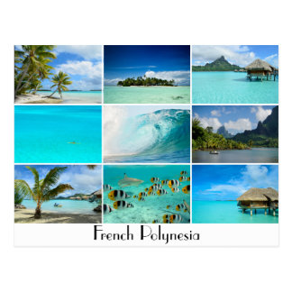 French Polynesia islands collage postcard