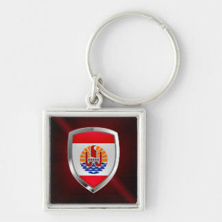 French Polynesia Mettalic Emblem Silver-Colored Square Keychain