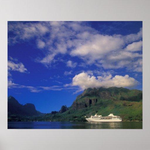 French Polynesia, Moorea. Cooks Bay. Cruise ship 3 Print