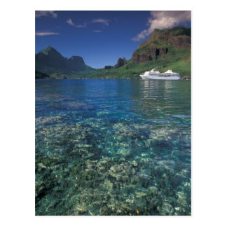 French Polynesia, Moorea. Cooks Bay. Cruise ship Postcard