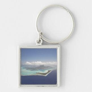 French Polynesia, Tahiti, Bora Bora. The Silver-Colored Square Keychain