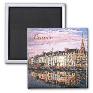 French Port Photo Painting Square Magnet