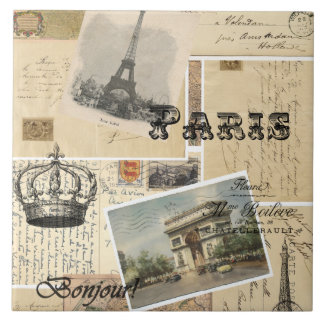 French Postcard Collage Tile or Trivet