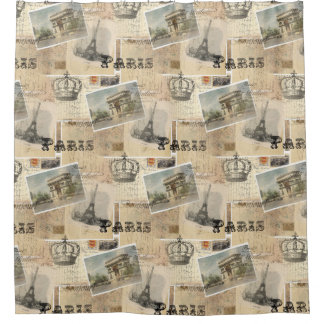 French Postcard Paris Shower Curtain