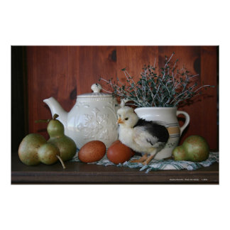 French Poultry, Pears & Porcelain Poster