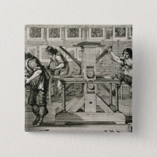 French printing press, 1642 (engraving) 2 inch square button