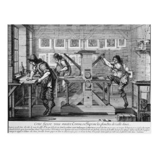 French printing press, 1642 postcard