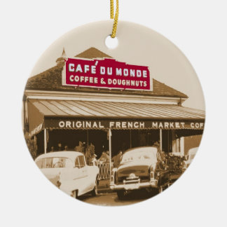 French Quarter Coffee Stand 1950 Ceramic Ornament
