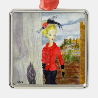 French Quarter:  MatisseFashion Watercolor Metal Ornament