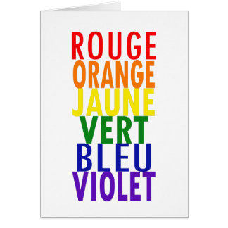 French Rainbow Colors Card