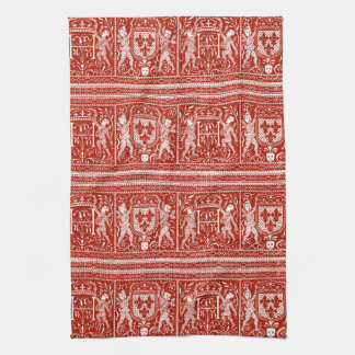 French Red and White Medieval Pattern Monogram H Kitchen Towel