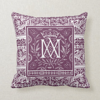 French Renaissance Phoenix Monogram MA Throw Pillow