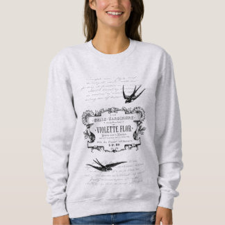 French Retro Violet Perfume Label Text Design Sweatshirt