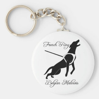French Ring Malinois Basic Round Button Keychain